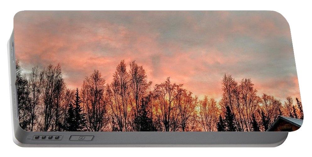 Alaska Portable Battery Charger featuring the photograph Sunrise Fire by Joshua Stoker