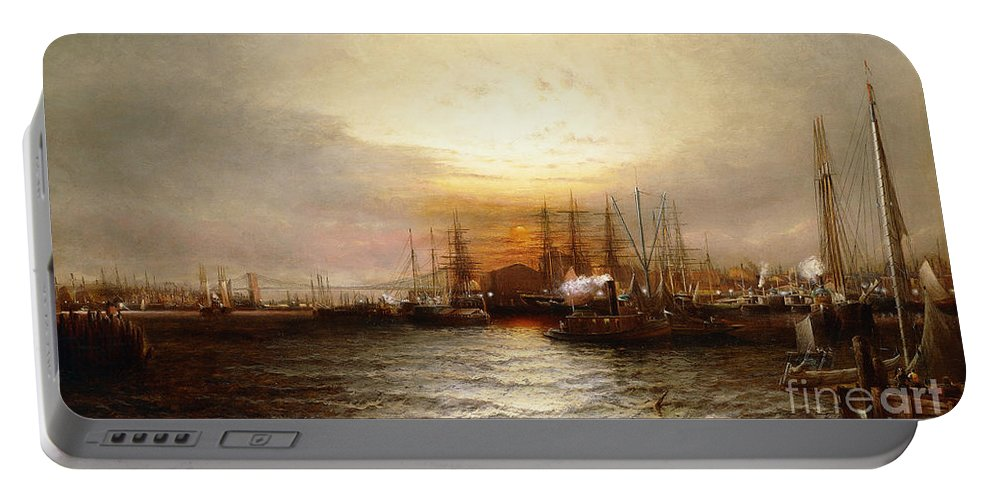 Skies Portable Battery Charger featuring the painting Sunrise From Chapman Dock And Old Brooklyn Navy Yard, East River, New York by Elisha Taylor Baker