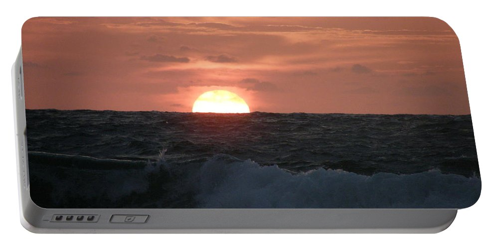 Nature Portable Battery Charger featuring the photograph Sunrise From The Waves by Kimberly Mohlenhoff