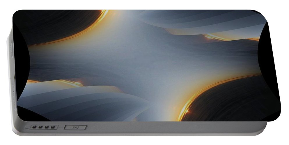 Sunrise Portable Battery Charger featuring the digital art Sunrise In Fractal by Tim Allen