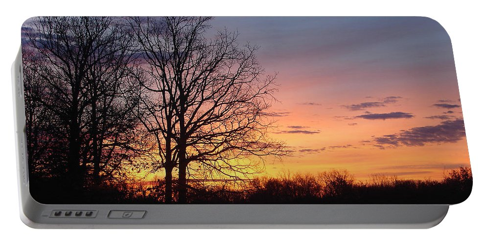 Tree Black Orange Portable Battery Charger featuring the photograph Sunrise In Illinois by Luciana Seymour