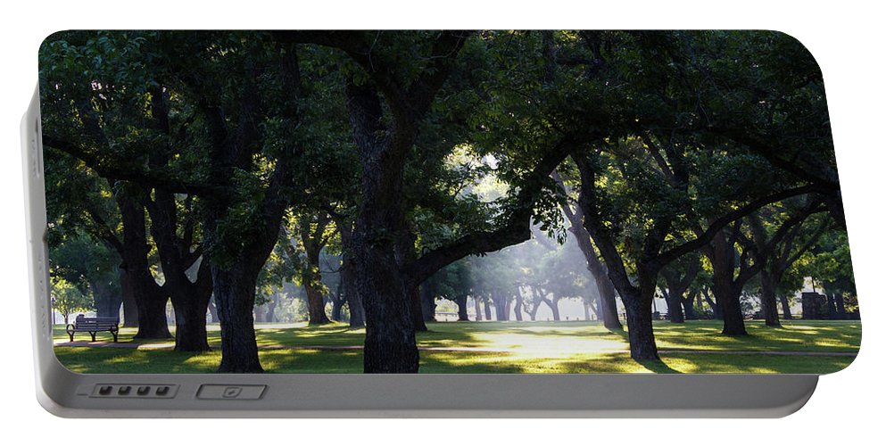 Sunrise Portable Battery Charger featuring the photograph Sunrise In Pecan Grove by David Werner