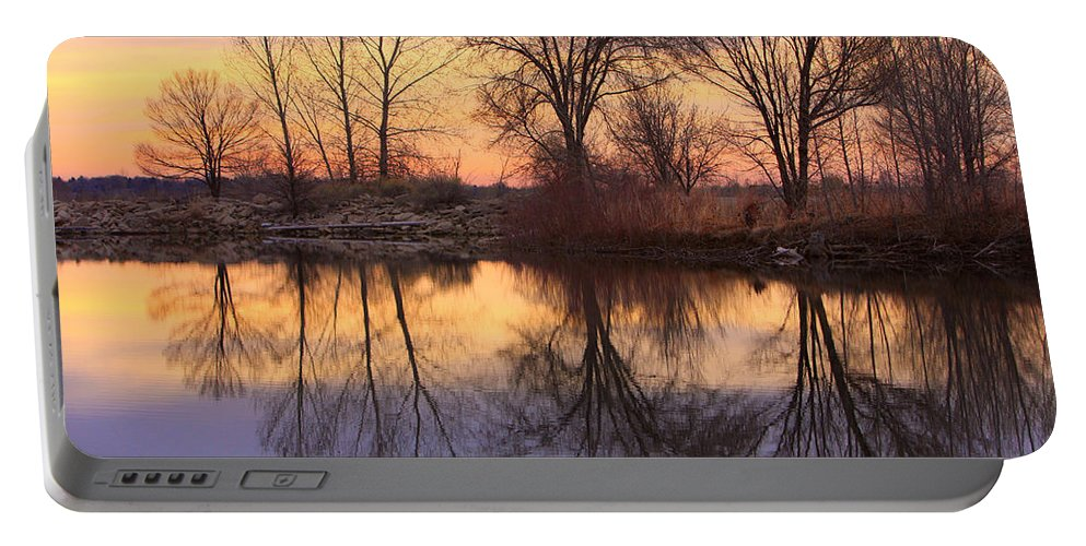 Sunrise Portable Battery Charger featuring the photograph Sunrise Lake Reflections by James BO Insogna
