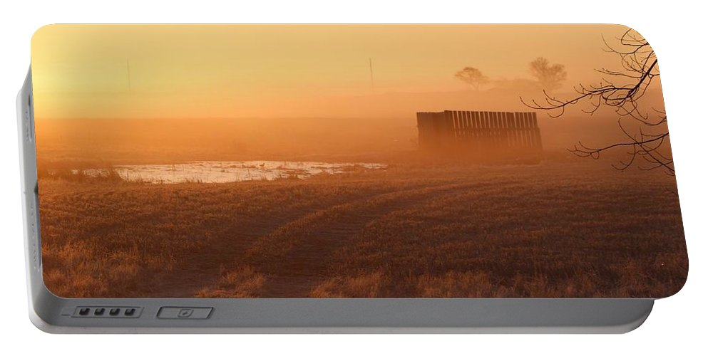 Misty Portable Battery Charger featuring the photograph Sunrise Mist by Vice Photo