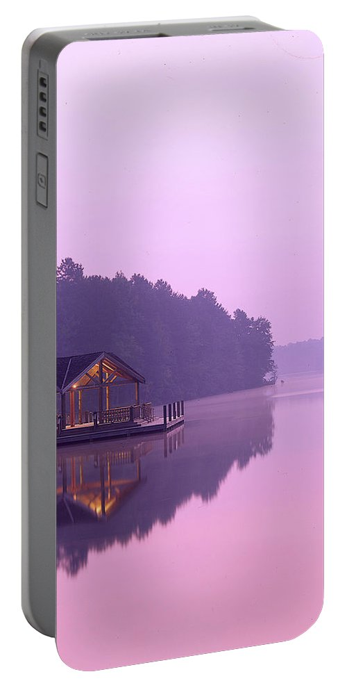 Lake Portable Battery Charger featuring the photograph Sunrise Over Lake Jeanette. by Robert Ponzoni