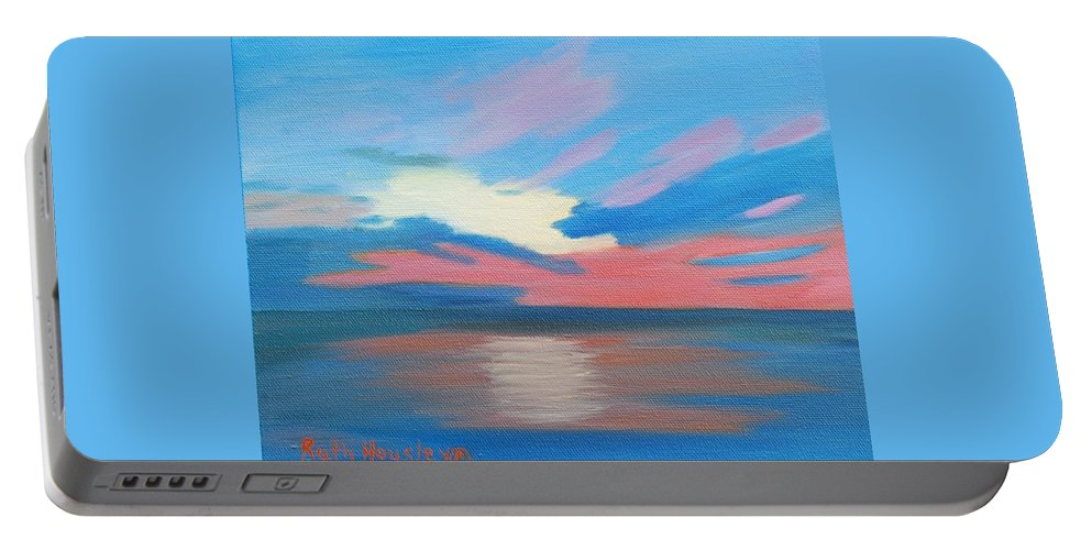 Fine Art Portable Battery Charger featuring the painting Sunrise Over Ocean City Maryland by Ruth Housley