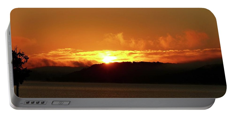 Sunrises Portable Battery Charger featuring the photograph Sunrise Over The Lake by Linda Cupps