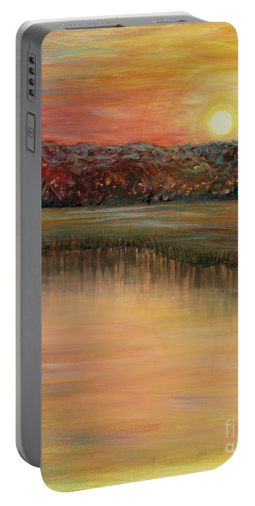 Sunrise Portable Battery Charger featuring the painting Sunrise Over the Marsh by Nadine Rippelmeyer