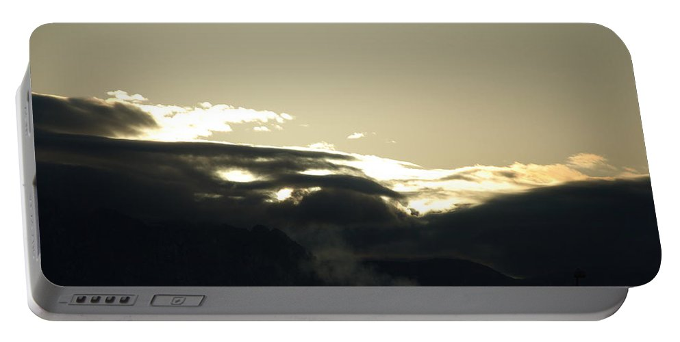 Sunrise Portable Battery Charger featuring the photograph Sunrise Over The Sandias by Rob Hans