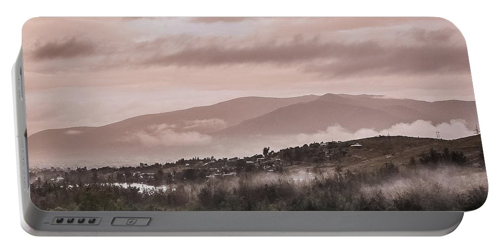 Tlacolula Portable Battery Charger featuring the photograph Sunrise Pink Over Tlacolula Valley by IK Hadinger