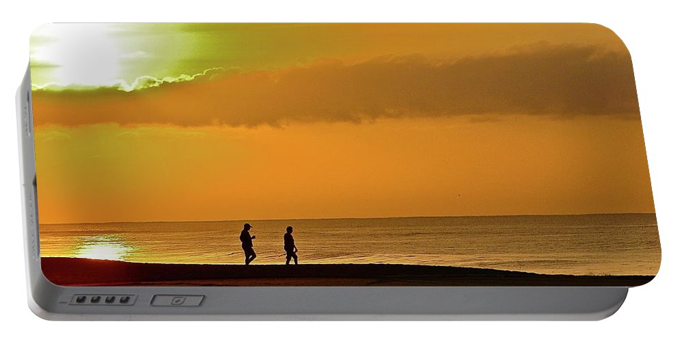 Beach Portable Battery Charger featuring the photograph Sunrise Stroll by Diana Hatcher