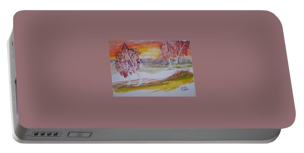 Impressionistic Portable Battery Charger featuring the painting Sunrise Surreal Modern Landscape Painting Fine Art Poster Print by Derek Mccrea