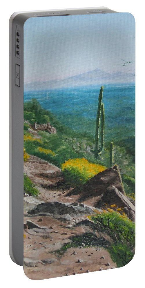 Landscape Portable Battery Charger featuring the painting Sunrise Trail by Lea Novak