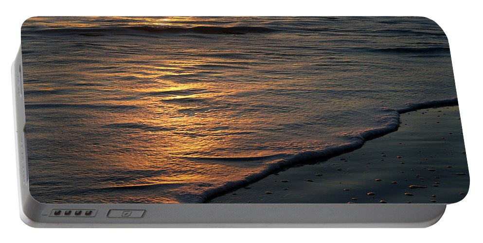 Ocean Beach Sun Sunrise Reflection Wave Tide Bright Orange Gold Water Vacation Portable Battery Charger featuring the photograph Sunrise Waves by Andrei Shliakhau