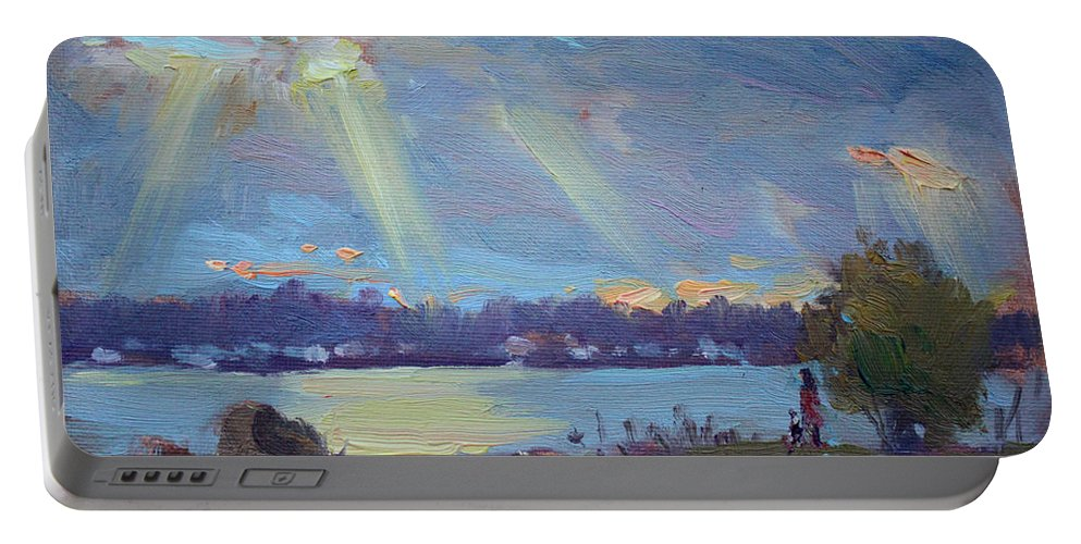 Sunset Portable Battery Charger featuring the painting Sunset After The Rain by Ylli Haruni