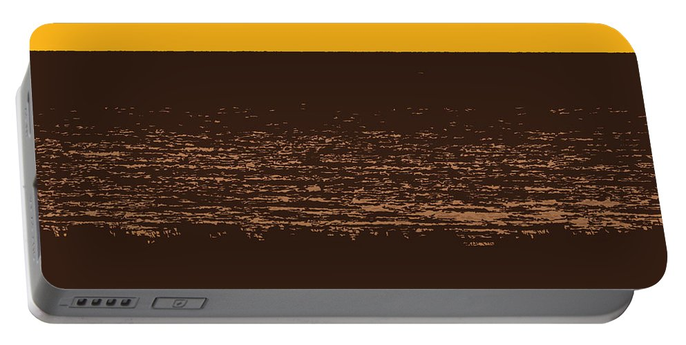 Golden Portable Battery Charger featuring the photograph Sunset And Lake Michigan by Michelle Calkins