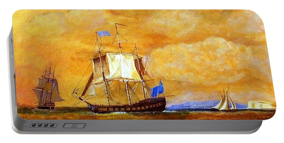 Sunset Portable Battery Charger featuring the painting Sunset And Ships by Richard Le Page