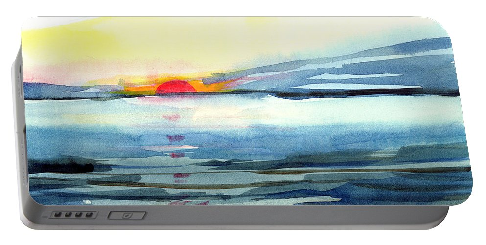 Landscape Seascape Ocean Water Watercolor Sunset Portable Battery Charger featuring the painting Sunset by Anil Nene