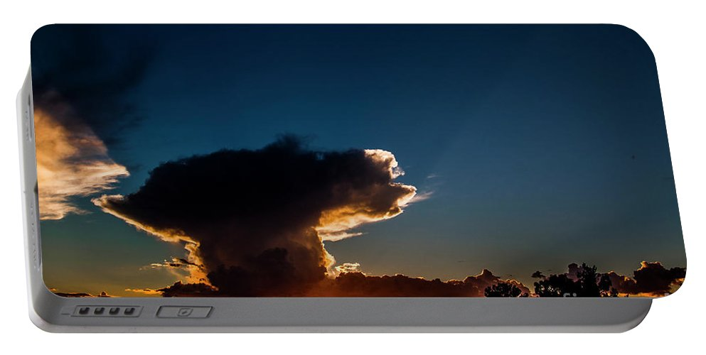 Thunderstorm Portable Battery Charger featuring the photograph Sunset Anvil by Jennifer Sensiba
