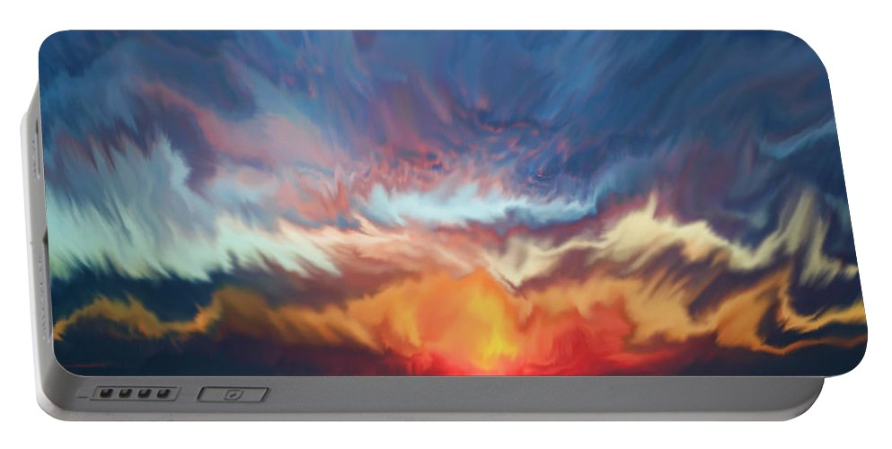 Sunset Portable Battery Charger featuring the painting Sunset Art Landscape by Justyna JBJart