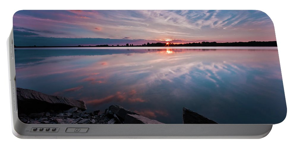 Sunrise Portable Battery Charger featuring the photograph Sunset At Anglezarke Reservoir #1, Rivington, Lancashire, North West England by Anthony Lawlor