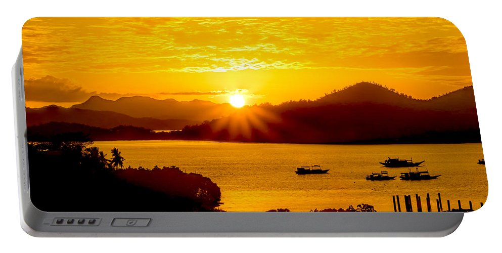 Sunset Portable Battery Charger featuring the photograph Sunset At Coron Bay by Henry Jager