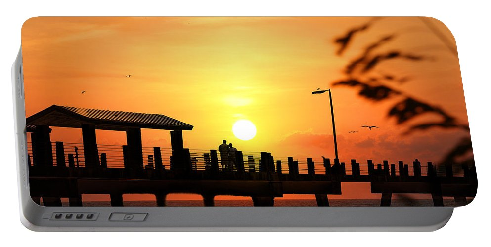 Fort De Soto Portable Battery Charger featuring the photograph Sunset At Fort De Soto Fishing Pier Pinellas County Park St. Petersburg Florida by Mal Bray