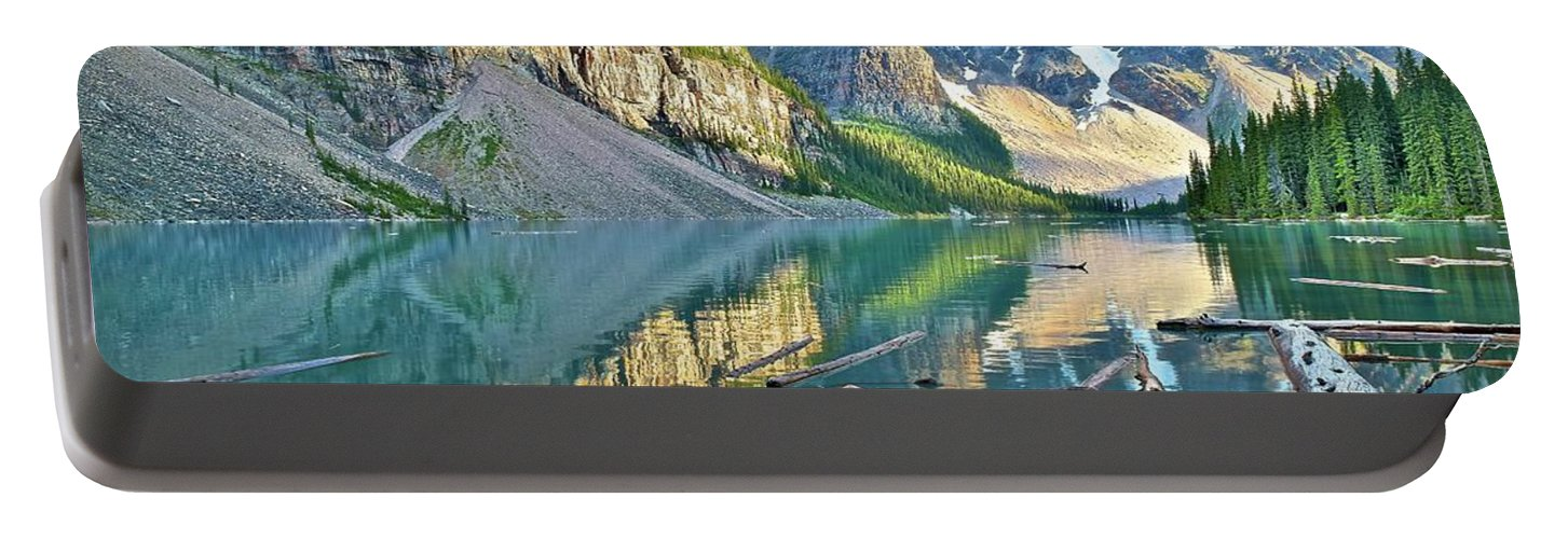Moraine Portable Battery Charger featuring the photograph Sunset At Moraine by Frozen in Time Fine Art Photography
