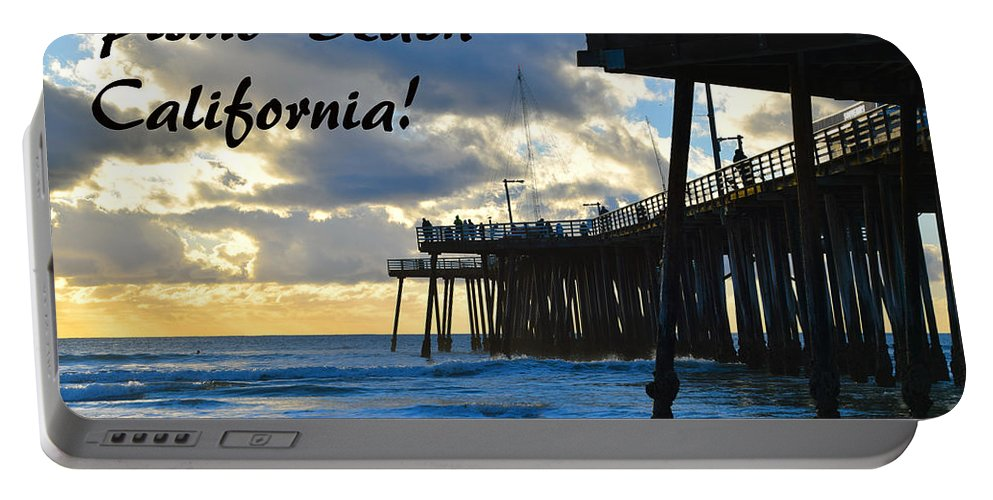 Sunset At Pismo Beach California Portable Battery Charger featuring the painting Sunset At Pismo Beach California by Barbara Snyder