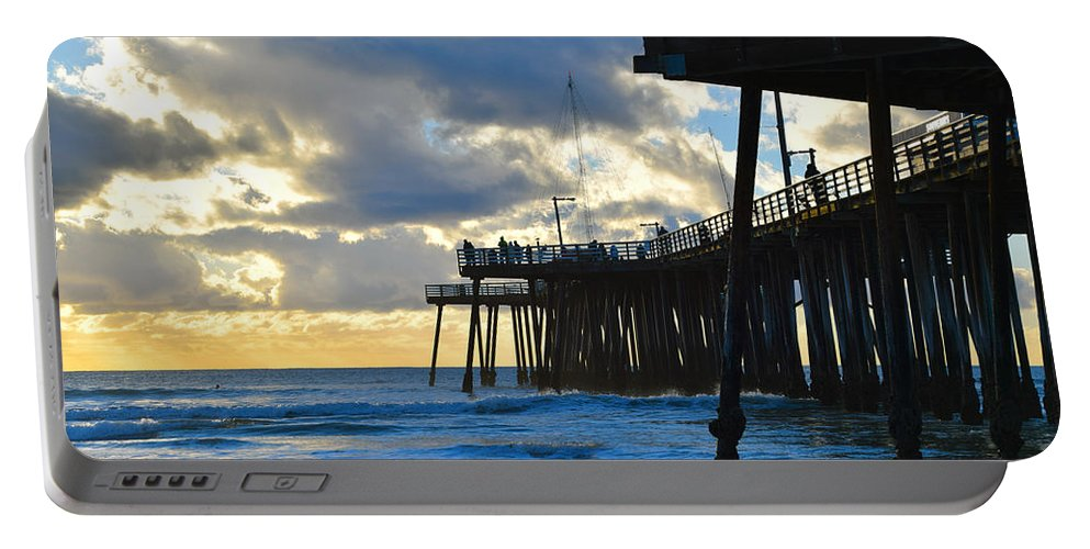 Sunset At Pismo Pier Portable Battery Charger featuring the painting Sunset At Pismo Pier by Barbara Snyder