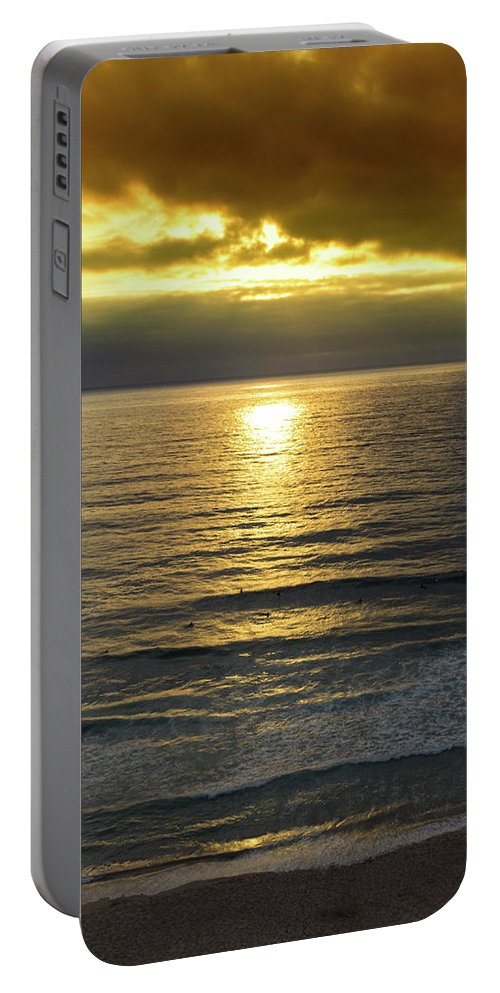 Azenhas Do Mar Portable Battery Charger featuring the photograph Sunset At Praia Pequena, Small Beach In Sintra Portugal by Jose Coelho