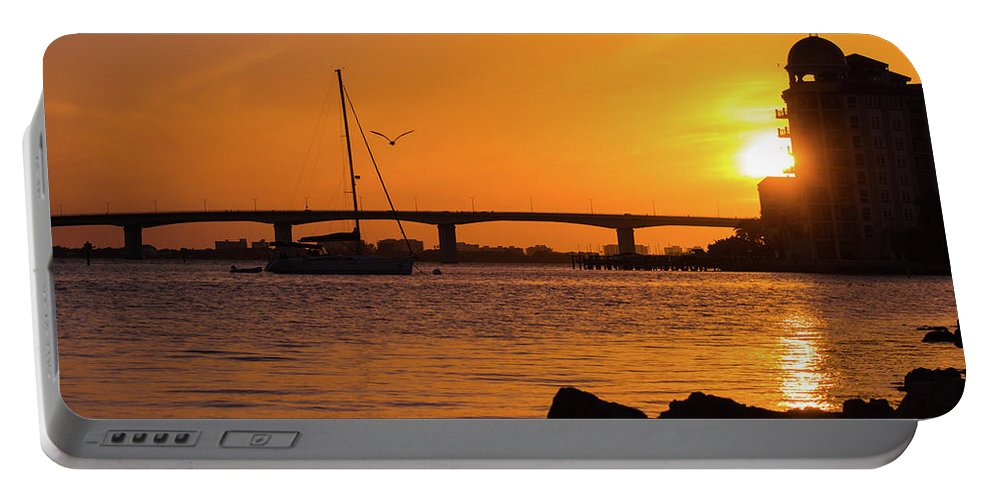 susan Molnar Portable Battery Charger featuring the photograph Sunset At Sarasota Bayfront Park by Susan Molnar
