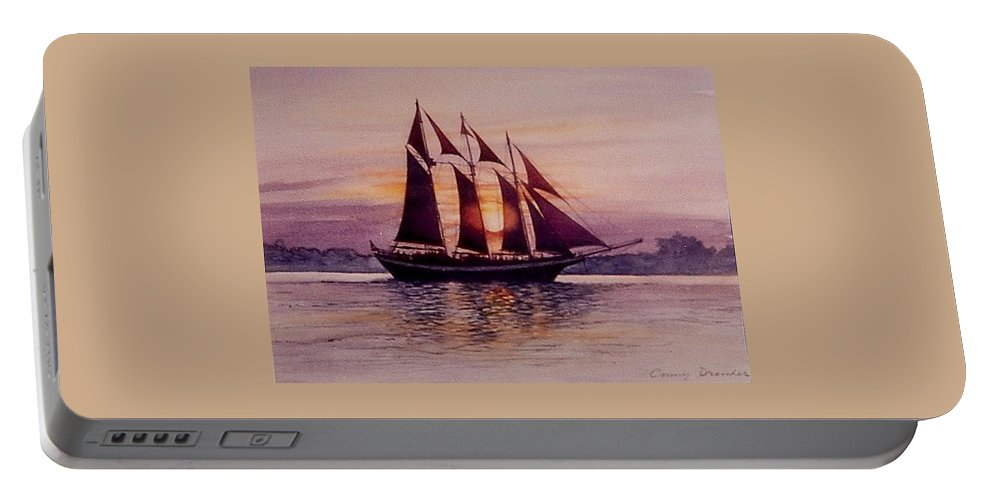 Ship Portable Battery Charger featuring the mixed media Sunset At Sea by Constance Drescher