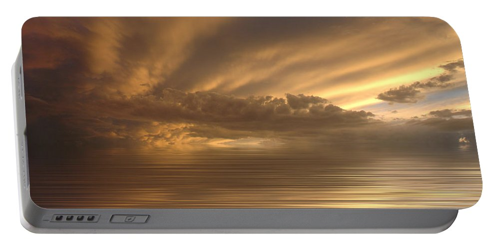 Sunset Portable Battery Charger featuring the photograph Sunset At Sea by Jerry McElroy