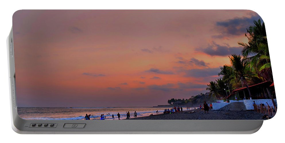 Surfer Portable Battery Charger featuring the photograph Sunset At The Beach - El Salvador by Totto Ponce