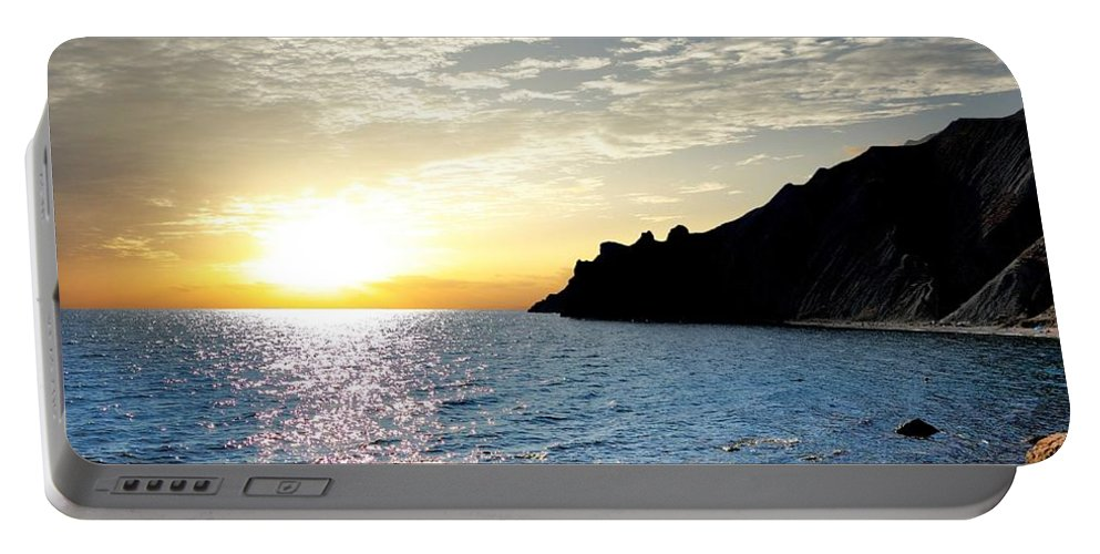 Sunset Portable Battery Charger featuring the photograph Sunset At The Black Sea Coast. Crimea by Yuri Hope