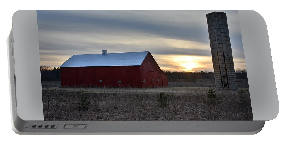 Sunset Portable Battery Charger featuring the photograph Sunset At The Farm by Stephen Path