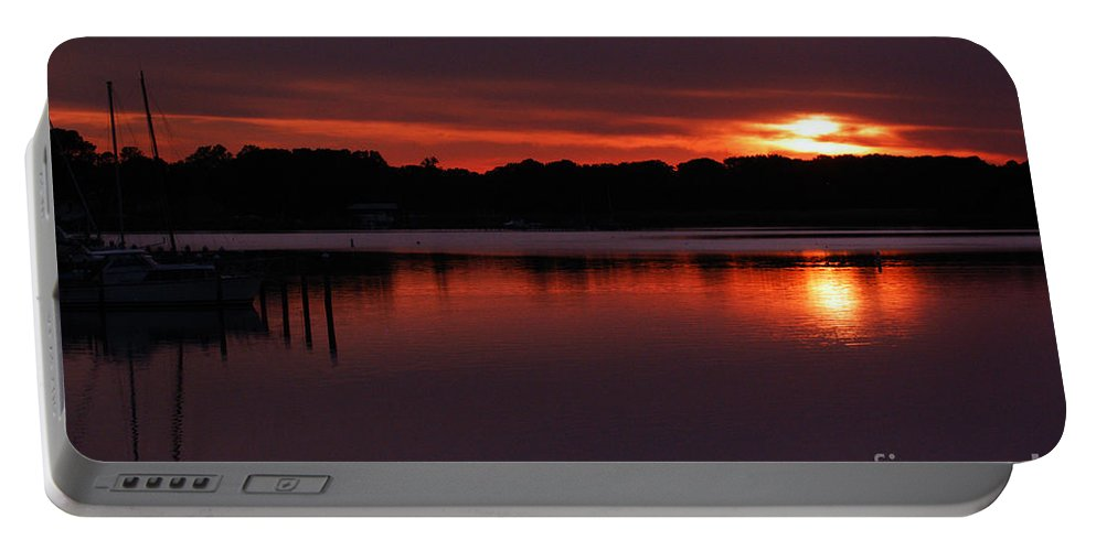 Clay Portable Battery Charger featuring the photograph Sunset At The Marina by Clayton Bruster