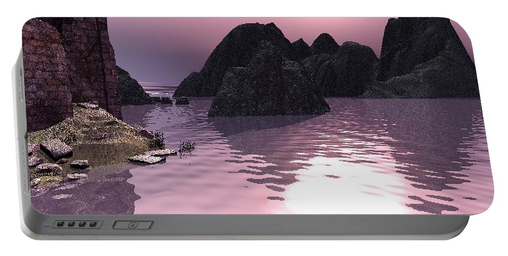 Sunset Portable Battery Charger featuring the digital art Sunset At The Ocean by John Junek
