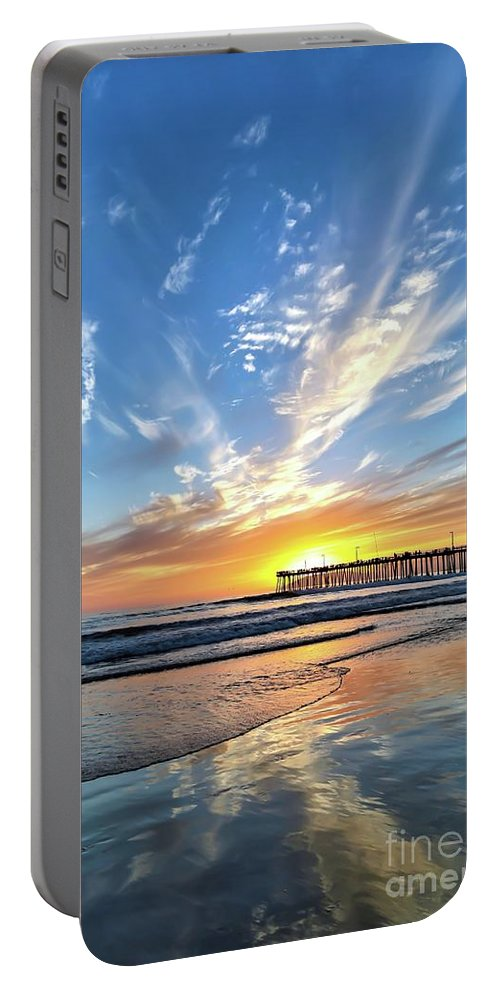 Pismo Beach Portable Battery Charger featuring the photograph Sunset At The Pismo Beach Pier by Vivian Krug Cotton