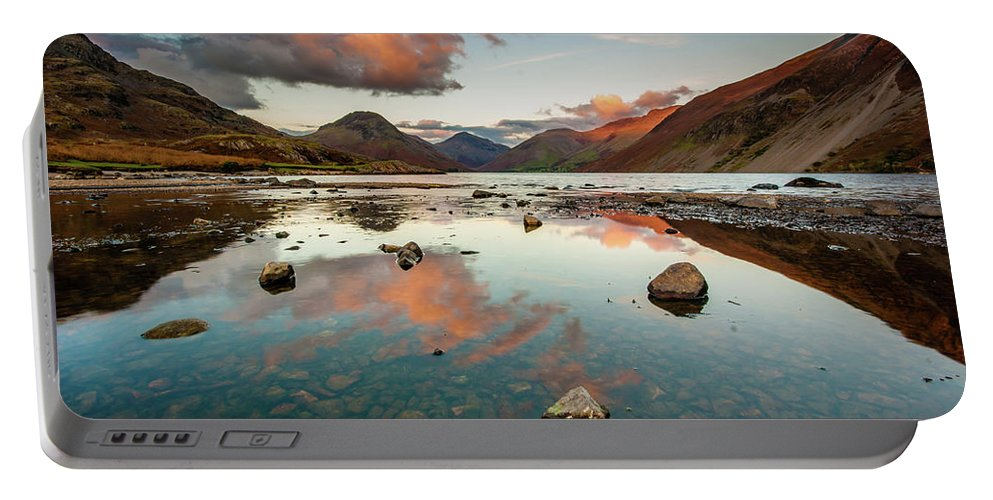 Sunrise Portable Battery Charger featuring the photograph Sunset At Wast Water #1, Wasdale, Lake District, England by Anthony Lawlor