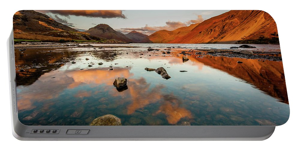 Sunrise Portable Battery Charger featuring the photograph Sunset At Wast Water #2, Wasdale, Lake District, England by Anthony Lawlor