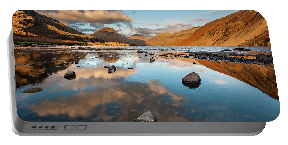 Sunrise Portable Battery Charger featuring the photograph Sunset at Wast Water #3, Wasdale, Lake District, England by Anthony Lawlor