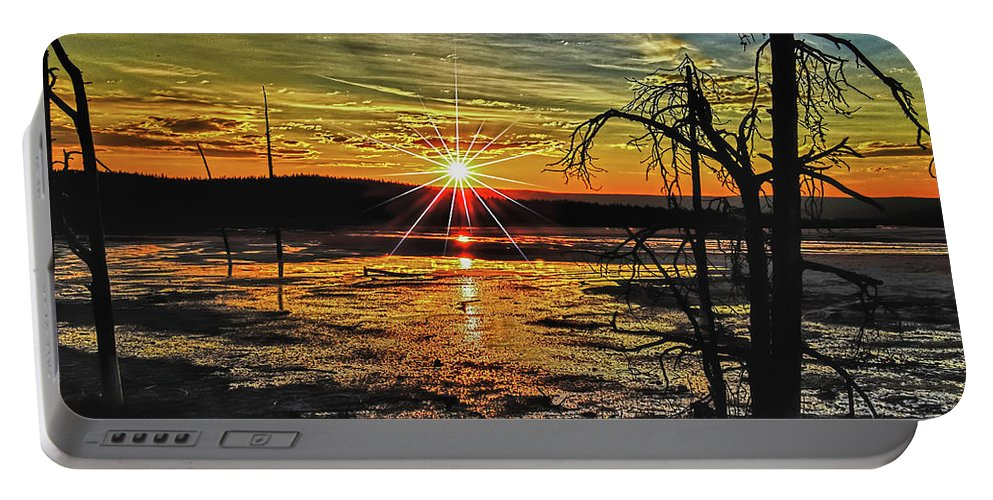 Sunset Portable Battery Charger featuring the photograph Sunset At Yellowstone by Raymond J Deuso