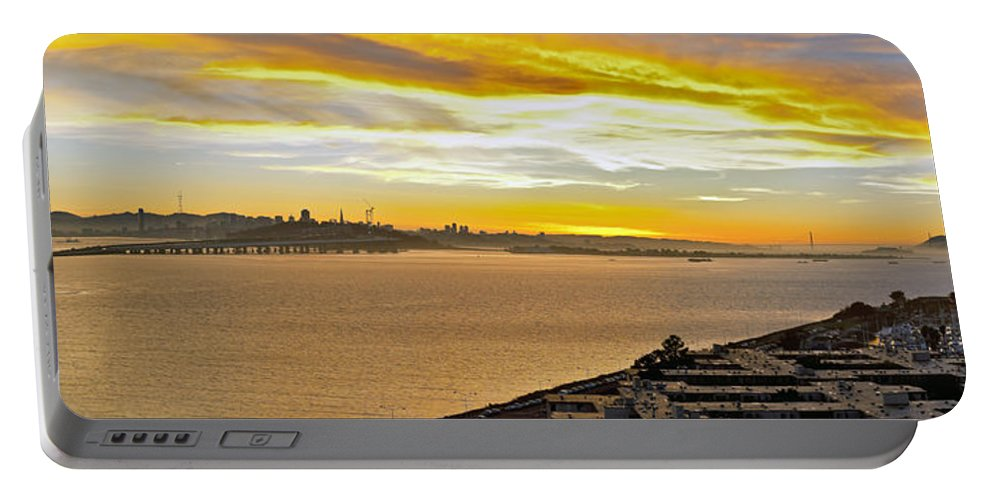 San Francisco Bay Portable Battery Charger featuring the photograph Sunset Bay by Kelley King