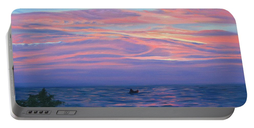 Seascape Portable Battery Charger featuring the painting Sunset Bay by Lea Novak