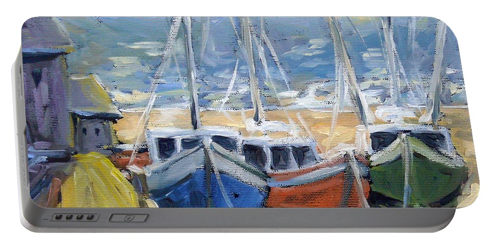 Sea Portable Battery Charger featuring the painting Sunset Bay by Richard T Pranke