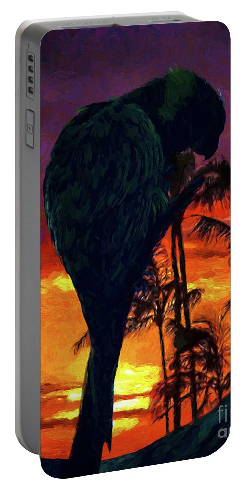 Parrot Portable Battery Charger featuring the painting Sunset Beach by Adam Olsen