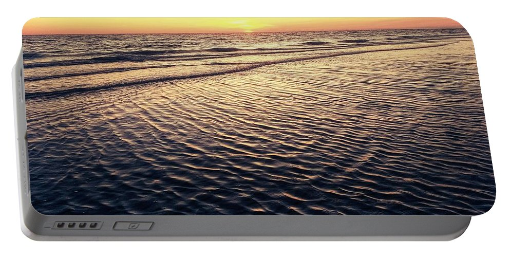 Portable Battery Charger featuring the digital art Sunset Beach In Florida Paradise by Alfred Blaho