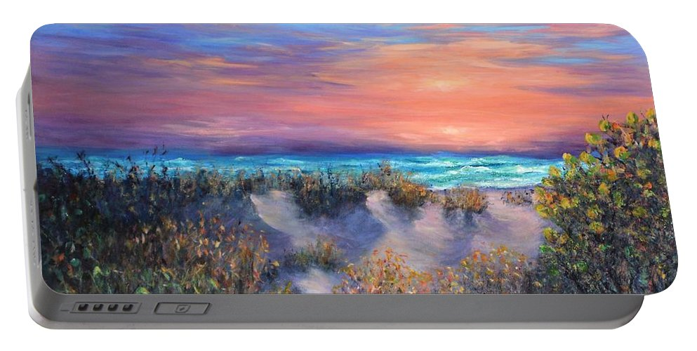 Sunset Painting Portable Battery Charger featuring the painting Sunset Beach Painting With Walking Path And Sand Dunesand Blue Waves by Amber Palomares